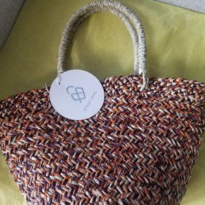 NWT Street Level Small Straw Tote Bag